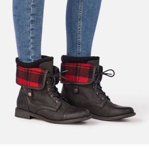 Black and red plaid combat boots